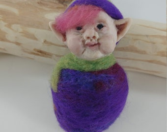Eggplant fairy Baby, Fantasy Creature. Polymer Clay Sculpture, figurine