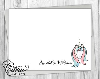 Unicorn Stationery Girls - Stationary Flat Note Cards - Personalized - Baby Girl Shower - Thank You Cards - Birthday Party - Pink Purple Kid