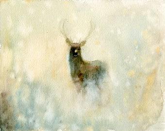 Elk Original watercolor painting 10x8inch