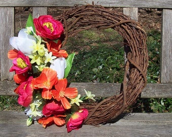 Grapevine Wreath, 14-inch, about 16-inch finished.  Colorful orange, pink, green, white. Wall decor, door wreath.