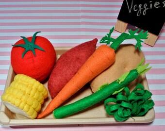 Felt Vegetable Set D- Includes Potato, Sweet potato, Corn, Tomato, Asparagus, Broccoli & Carrot. Felt Food,Felt Toy, Vegetable toy, toy food