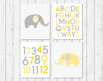 Elephant Nursery Wall Art / Elephant Nursery Art / Chevron Pattern / Alphabet / Numbers / Yellow & Grey / PRINTABLE Instant Download A205