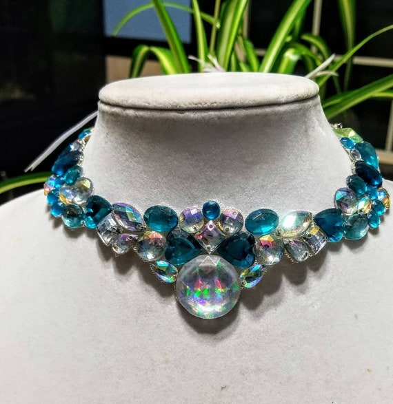 Mirrored Teal - rhinestone bling necklace, illusion necklace, rhinestone bib, floating necklace, rhinestone statement necklace
