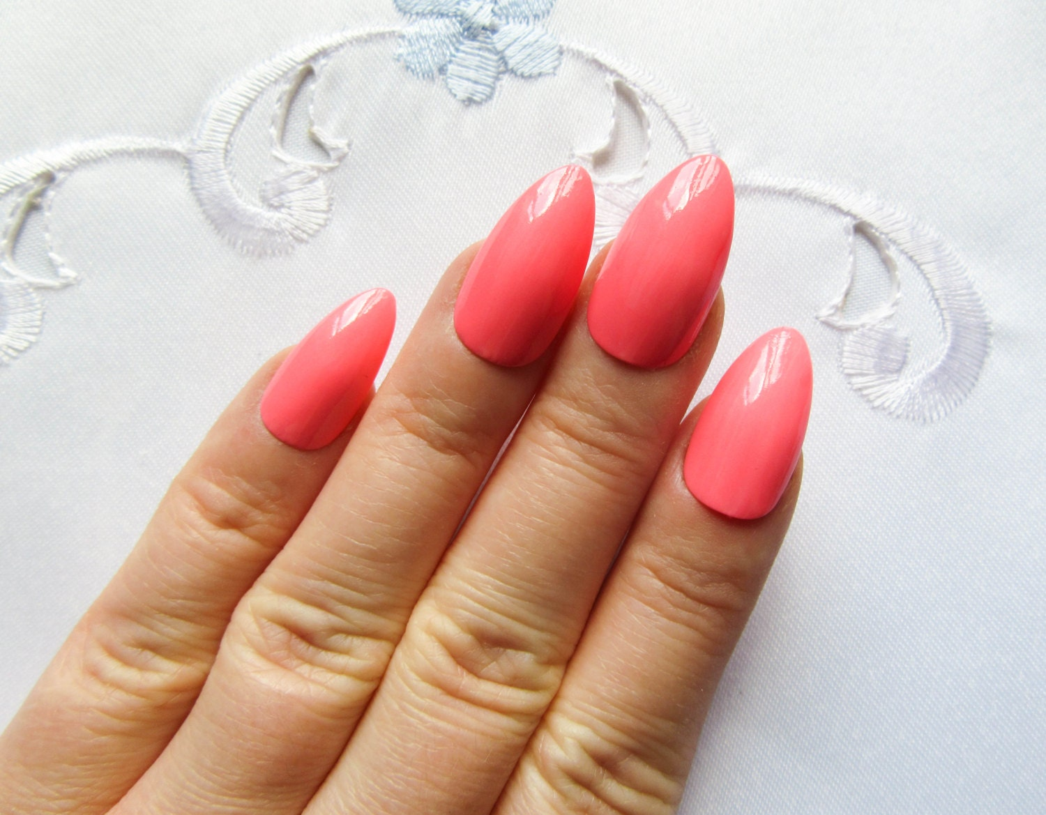 Flamingo Pink Nails / Fake Nails / Stiletto Nails / Press on Nails ...