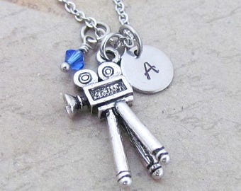 Movie Camera Charm Necklace, Personalized Hand Stamped Initial Birthstone Monogram Antique Silver Camera Charm Necklace