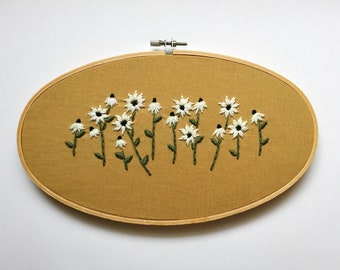 """Set of two 3"""" hoops and one 5x9"""" floral embroidery hoop, nature embroidery"""