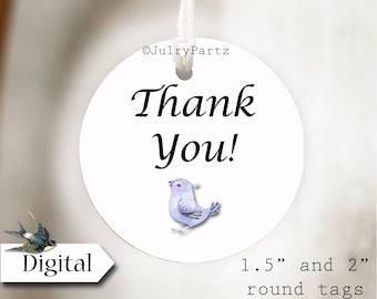 DIY BLUEBIRD•Thank You Tags•Printable Tags•Digital Tags•Favor Tags