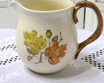 Metlox Poppytrail Woodland Gold Water Pitcher 40 oz California Pottery Orange Brown Gold Leaf Design USA PanchosPorch