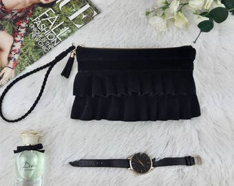 Black leather clutch purse, Wristlet purse with ruffles, Clutch bag, Small bag