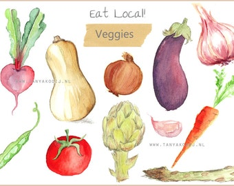Watercolor Food Clipart  handpainted vegetables DIY Invite menu card Recipe