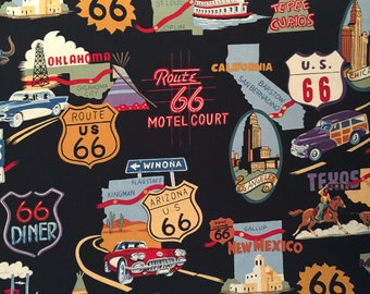 Route 66 Fabric, Highway 66 Fabric, Fabric by the yard, Fat Quarter, Quilting Fabric, Apparel Fabric, 100% Cotton Fabric, T-7