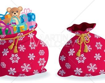 Santa's Sack - Vector Illustration. bag, package, santa, santa claus, christmas, present, presents, gift, box, gifts, teddy bear, toy