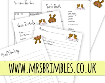 Bunny Rabbit and Guinea Pig Health Care Planner Inserts {A5}