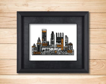 Pittsburgh Pennsylvania Yinz Steelers Penguins Buccos / Word Art Typography / Wall Art / Home Decor / Unique Gift / Silhouette Skyline