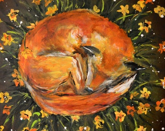 Fox in the Flowers Gallery Poster Art Print