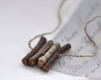 light natural minimalistic birch or/ black cherry wood necklace