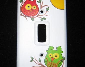 Hootie OWLS - Single Switch Plate Cover - WOOD or METAL - Hand Painted