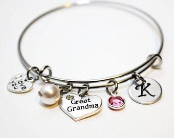 great grandma bracelet, great grandma bangle, great grandma jewelry, great grandma initial bracelet,  great grandma gift, great grandma