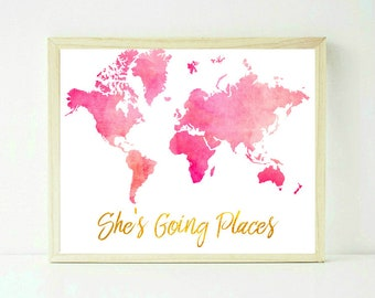 Sheu0027s Going Places, Girls Room Decor, Pink World Map, Pink And Gold, Girls  Room Decor, Girl Nursery, Watercolor Map, Nursery Map Printable