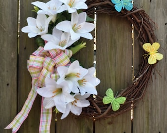 Easter Lillies Grapevine Wreath