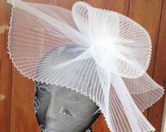 white feather fascinator millinery burlesque headband wedding hat hair piece