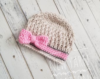 Crochet Bow Hat, Baby Girl Hat, Bow Hats for Girls, Bow Hat, Baby Girl Beanie, Beanie with Bow, Toddler, Baby, Hats for Girls, MADE 2 ORDER