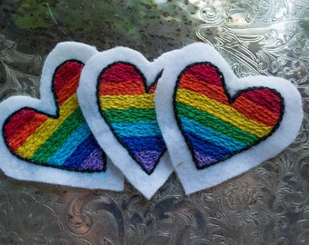 Rainbow Heart Patches