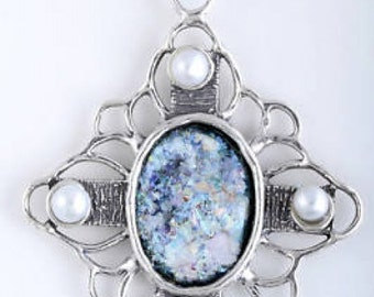 Beautiful Ancient Roman Glass Necklace, Pearl Pendant, 925 Sterling Silver Necklace, Unique Jewelry, OOAK