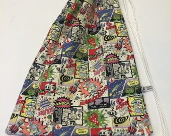 New- Child's Drawstring Swim Bag. Vintage Comic Space Fabric. Made in Cornwall.