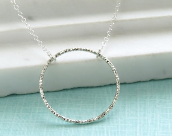 Diamond Cut Circle Necklace • Sparkling Circle of Life • Open Circle Necklace • Karma Necklace • Eternity Jewelry • Forever Necklace