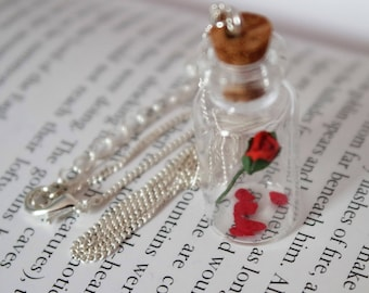 Rose Necklace, Beauty And The Beast Necklace, Rose In A Bottle Necklace, Glass Rose, Fairytale, Beauty And The Beast Jewellery, Last Petal