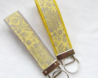 Wristlet Key Fob Key Chain in Grey & Yellow Floral Damask - Choose One in Your Choice of Yellow or Gray Webbing