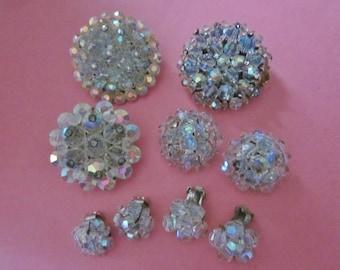 DeStash Vintage Crystal Bead Brooches