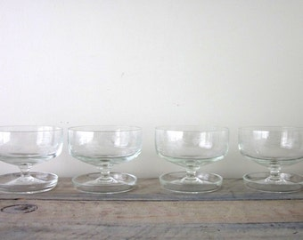 Vintage Crystal Compotes Dessert Bowls with Attached Trays Set of Four