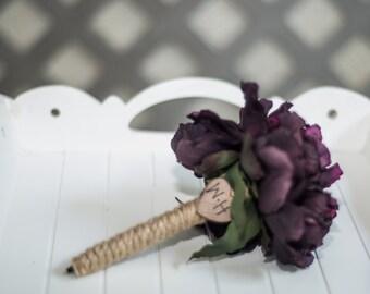 Burlap Guest book pen  select flower showing purple peony pen