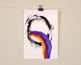 Modern Abstract Rainbow Postcard Colorful Art Painting Print Art Gift Stocking Stuffers Rainbow Illustration Bright Stationery Greeting Card
