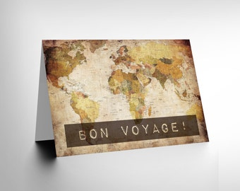 Bon Voyage Card - World Map Travel Goodbye blank Greetings Card CL1031