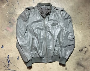 Vintage Cafe Racer Leather Motorcycle Jacket - Medium/Large Mens - Gray - Grey - Leather Moto Jacket - Tight Fitting - Classic -