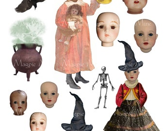 Halloween Doll Heads Collage Sheet - Digital Download - Printable