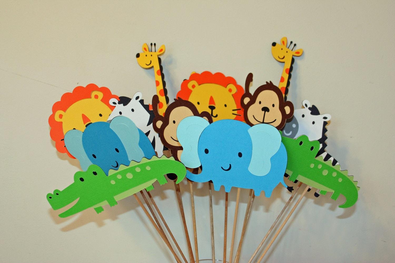 Jungle zoo circus safari table decorations set of 24 jungle for Deco table jungle