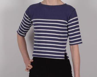 True vintage 1960's Nautical Breton Mariniere stripe sailor top, XS S