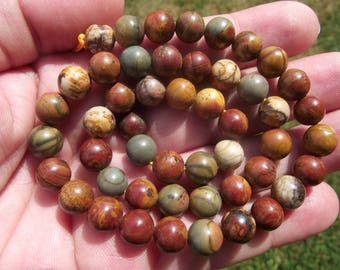 5 BEADS PICASSO JASPER COLOR MIX 8MM.
