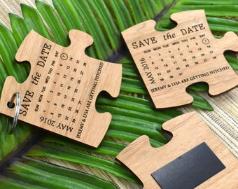 "30 x Engraved Wooden Puzzle ""Save The Date"" Wedding Key ring or Magnet"