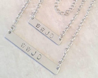 WWJD Necklace, Silver Bar Necklace, Handmade, WWJD, Hand Stamped, Metal Stamped, What Would Jesus Do Bar Necklace,  Candmjewelrydesigns.