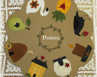 I Love Primitives Penny Rug Wool Applique Candle Mat PATTERN