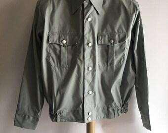 Men's Aviation Military Style Shirt Long Sleeve Work Shirt Uniform Light Blue Gray Button Front Flight Jacket 1980's Medium Large