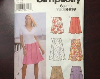 Skirt Pattern / Gored Skirt Pattern / Easy Skirt Pattern / 6 Skirts Made Easy Pattern / Simplicity 5199 / UNCUT