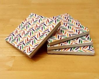 Coasters, Crayon Decor, Coaster Set, Tile Coasters, Housewarming Gift, Home Decor, Gift Idea, Ceramic Tile Coasters, Birthday Gift