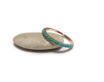 Rose gold wedding band, December ring, Stackable Turquoise ring, Turquoise wedding ring, Rose gold Turquoise Ring, Eternity Turquoise ring.