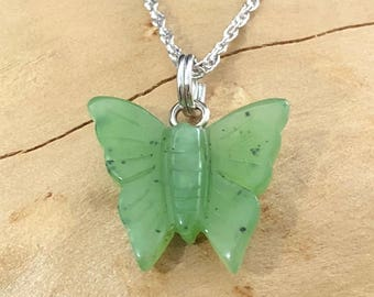 Canadian Nephrite Jade Butterfly Charm - 15mm - Green Jade - Natural Jade